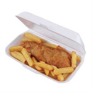 Foam Hinged Fish and Chip Trays per 250
